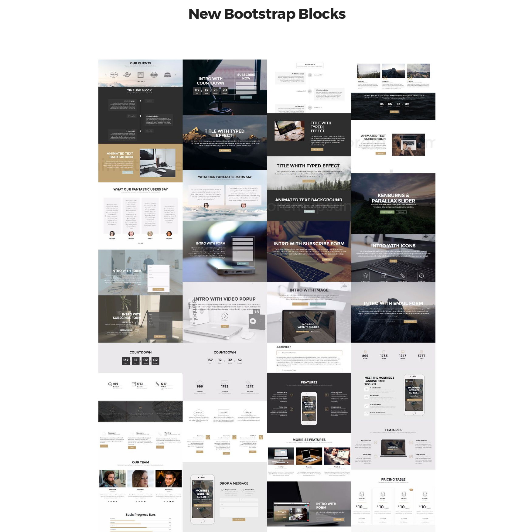 HTML Bootstrap 4 mobile-friendly blocks Templates