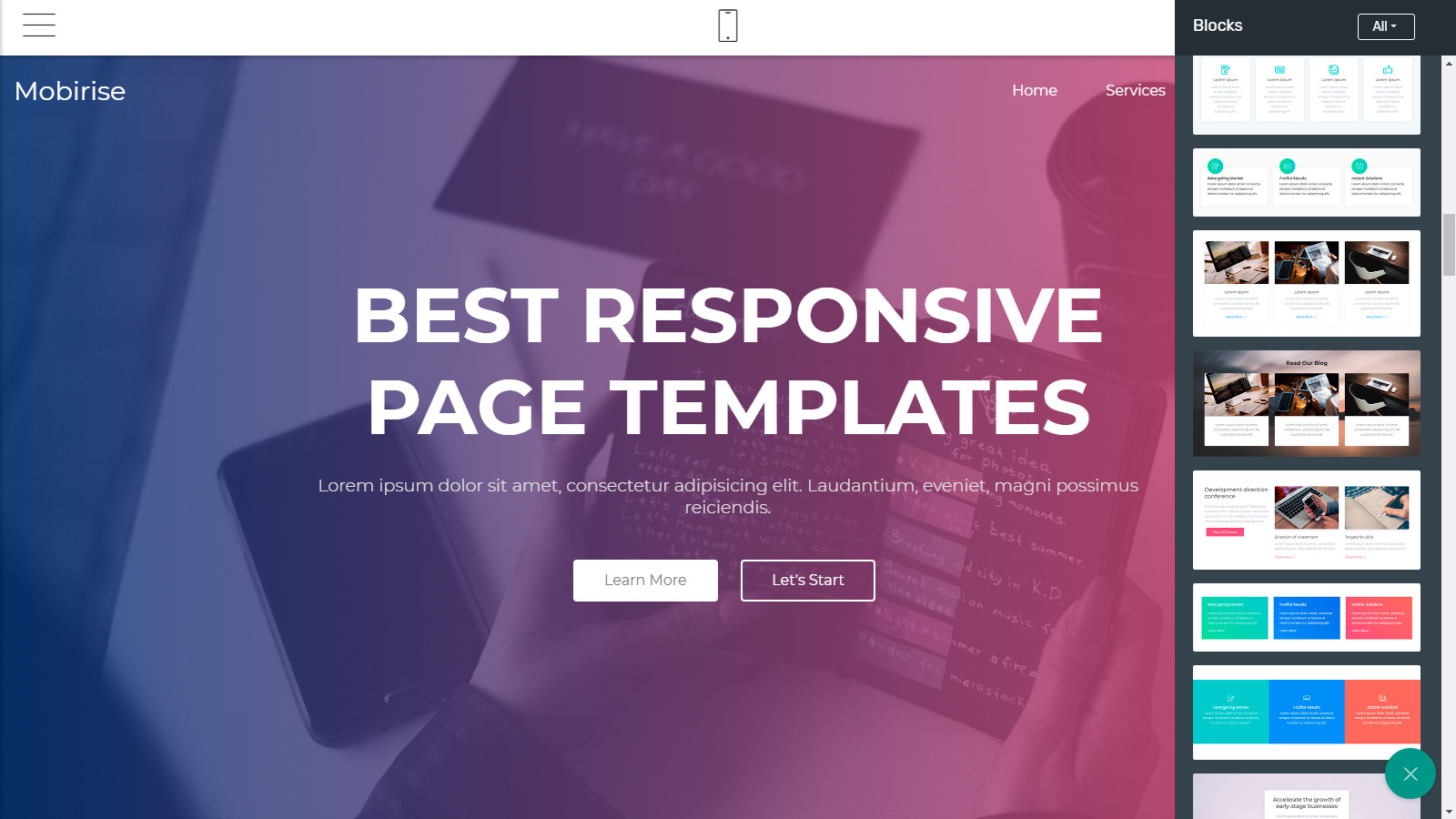 mobile-friendly page themes