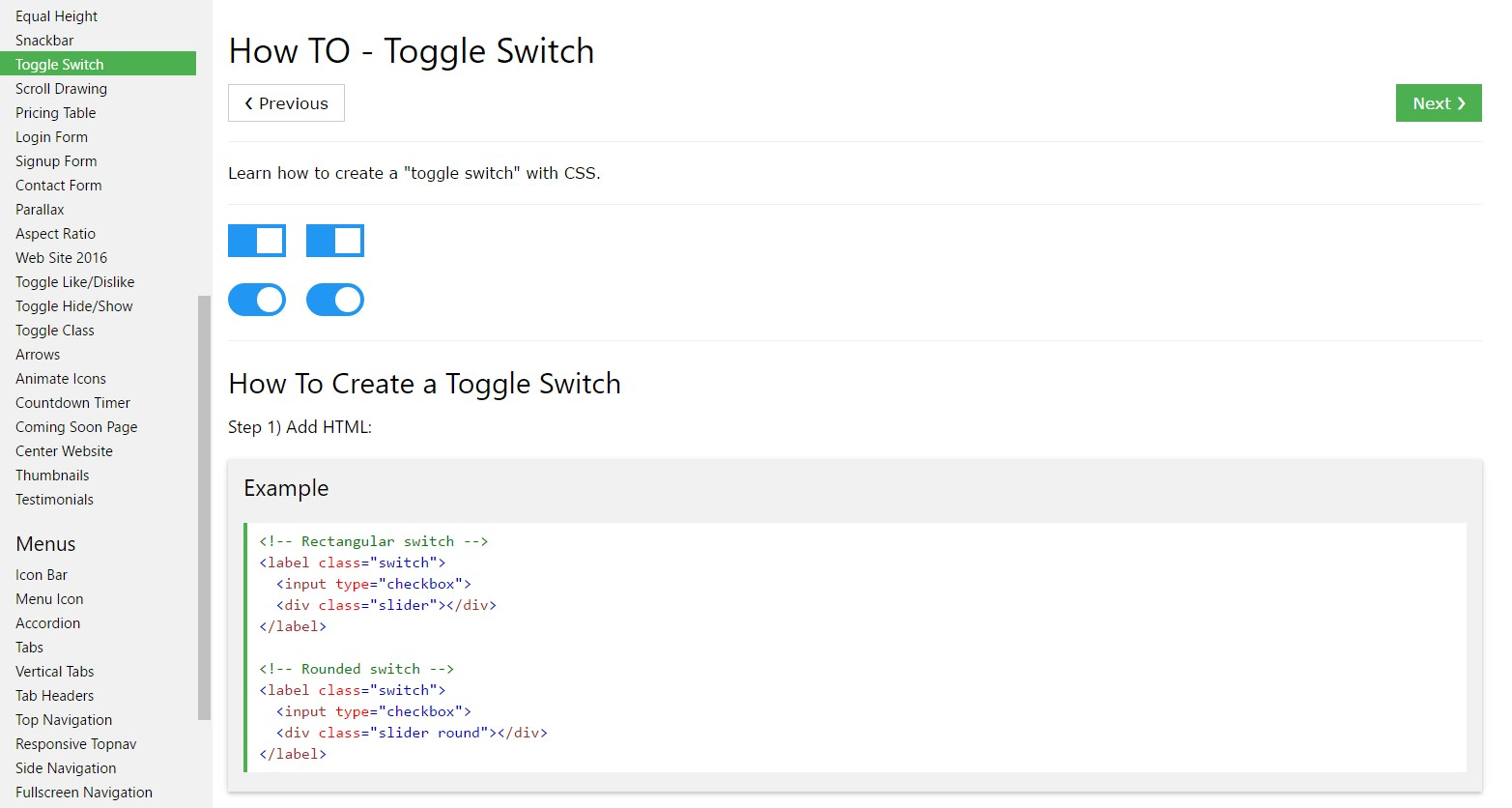 The ways to  make Toggle Switch