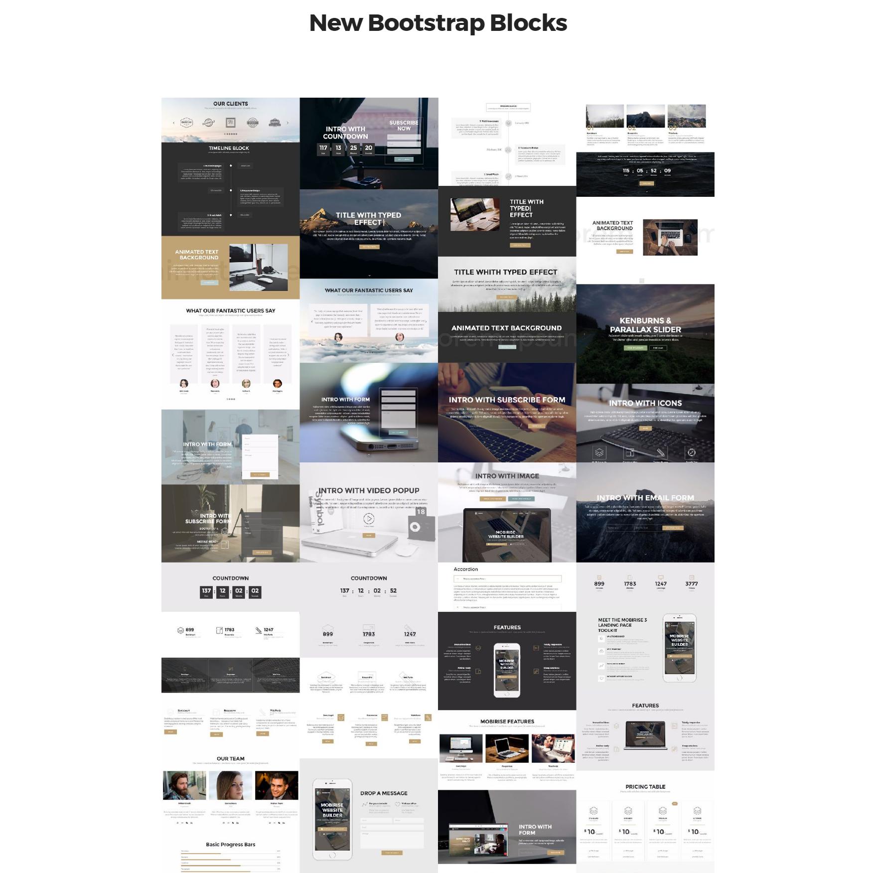 HTML Bootstrap 4 mobile-friendly blocks Templates