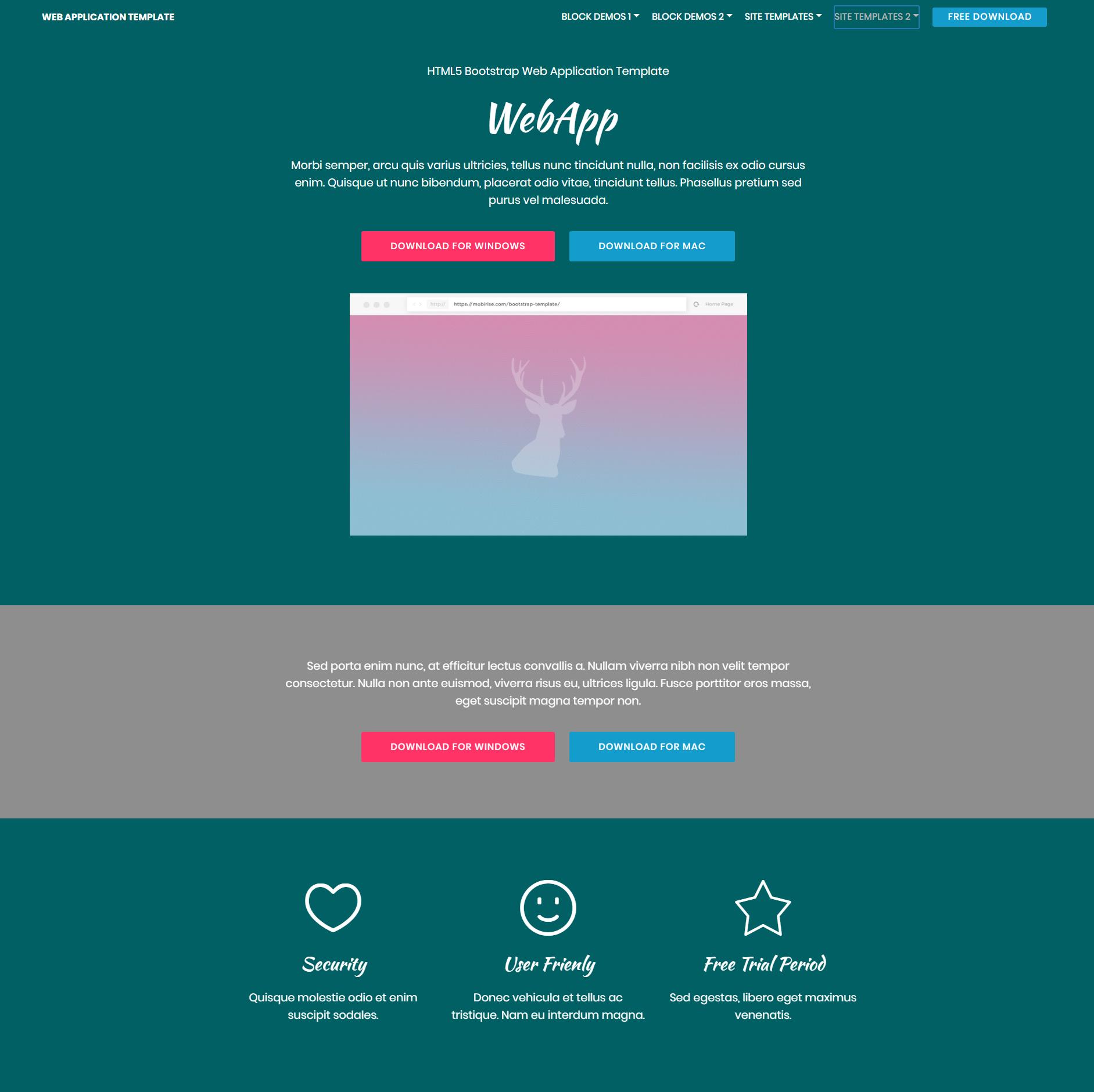 HTML5 Bootstrap Web Application Templates